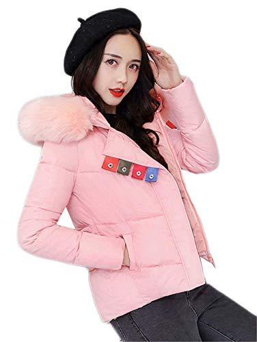 Piumino Moda Donna Piumini Manica Rosa Caldo Invernali Eleganti Pelliccia Giacca Lunga Con In Slim Cappuccio Outerwear Fit Trapuntata Costume Outdoor Addensare rrqPXwd