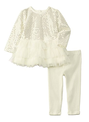 Velour Dress Set (Nanette Lepore Baby Girls Shimmer Velour Dress and Leggings Set, Ivory (18 Months))