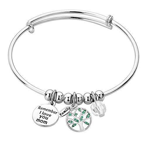 (Infinite Memories Remember I Love You Mom Tree of Life Adjustable Bangles Charm Bracelets for Family Women)