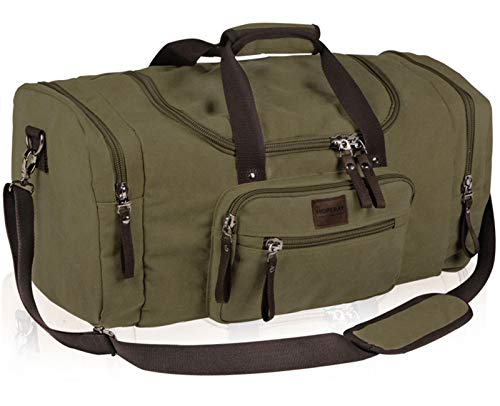 Oversized Canvas Travel Duffel Bag for Men Women, Heavy Duty Waterproof Weekender Overnight Carry on Luggage Duffle, Tote Shoulder Hand Bag for Sports,Gym,Vacation
