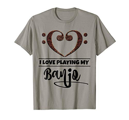 Double Bass Clef Heart I Love Playing My Banjo Music Lover T-Shirt