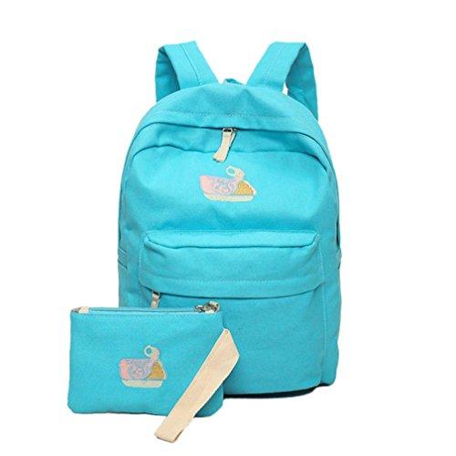 Clode® Escuela de moda las mujeres chica bandolera mochila mochila lona bolsos de viaje con monedero Azul