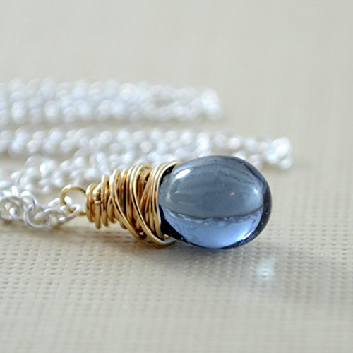 Navy Blue Glass Pendant Necklace with Mixed Metals