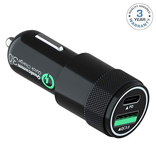 USB C PD 30W car Charger-Fast Power Delivey Charging Compatible with iPhone,Samsung,iPad-Qualcomm Quick Charge 3.0 USB Port car Charger-USB Type C PD Port car Charger