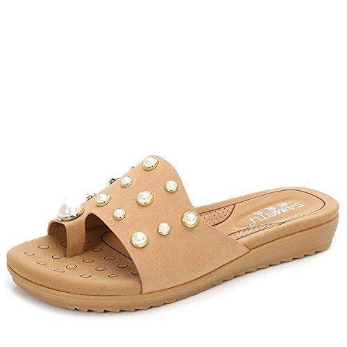 Zapatillas de Moda Sandalias | Sandalias de mujer Señoras sandalias | mujer COOL zapatillas | elegantes, grandes, calzado plano | Recreación suelo al final de la mitad fría zapatillas zapatillas de pl Khaki