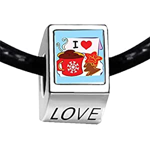 Chicforest Silver Plated I Love Coffee And Cookies Photo LOVE Charm Beads Fits Pandora Bracelet