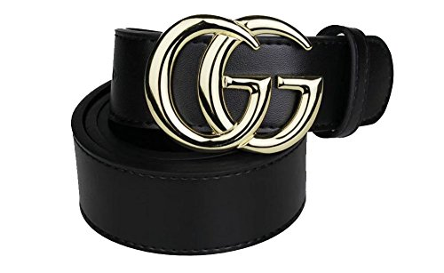 Fashion Black Instagram hot Leather Belt (Gold, 100CM 28-30) by GG