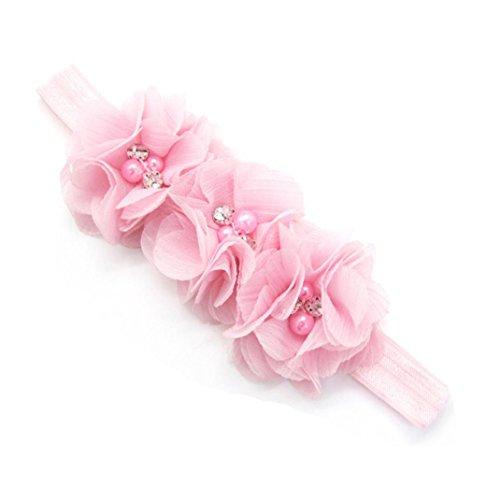 DZT1968 Newborn Toddler Baby Girl Elastic Headband Chiffon Flower Photography Headband (Pink)
