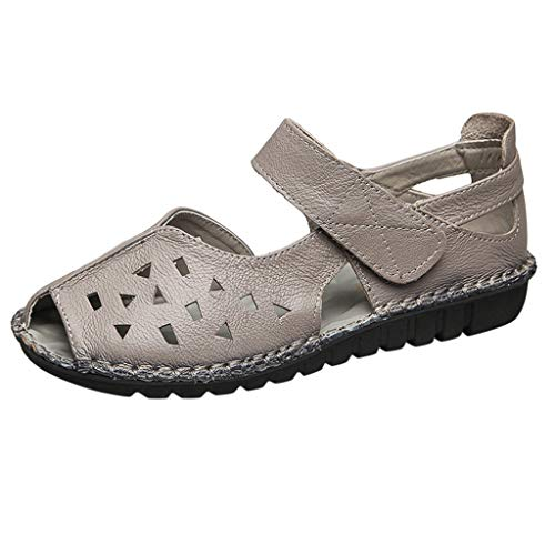 Haalife◕‿Women's Comfortable Leather Loafers Moccasins Summer Casual Walking Flat Sandal Hollow Out Fisherman Sandal Gray