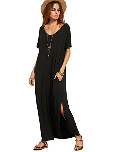 MAKEMECHIC Women's Casual Loose Pocket Long Dress Short Sleeve Split Maxi Dress Black ()