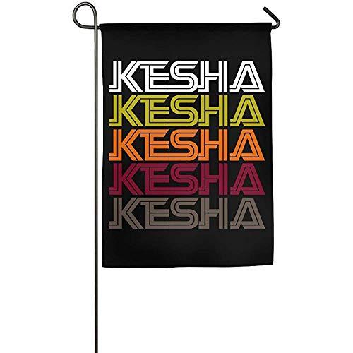 Kesha Retro Wordmark Pattern Custom Outdoor/Indoor 12 x 18 Inch Double Side Garden Flag for Present -