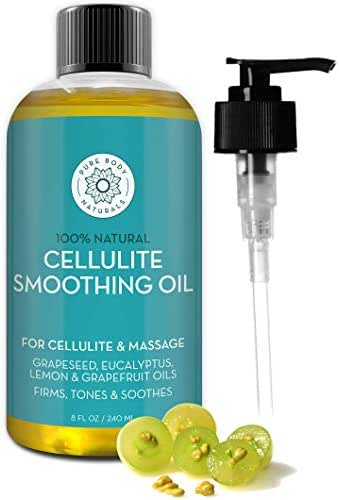 Pure Body Naturals Cellulite Massage Oil, 8 fl oz   100% Natural Cellulite Oil for Thighs and Butt   Chemical Free Cellulite Oil Massage Treatment for Firming Stomach, Legs, and Arms (Label Varies)
