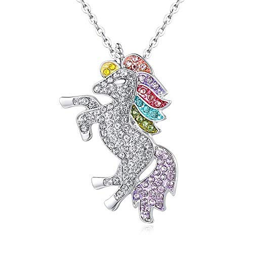 Multi-Color Unicorn Charm Pendant Necklace - Sparkling Crystal Long Chain for Women
