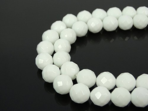 (jennysun2010 Natural White Alabaster Gemstone 10mm Faceted Round Loose 40pcs Beads 1 Strand for Bracelet Necklace Earrings Jewelry Making Crafts Design Healing)