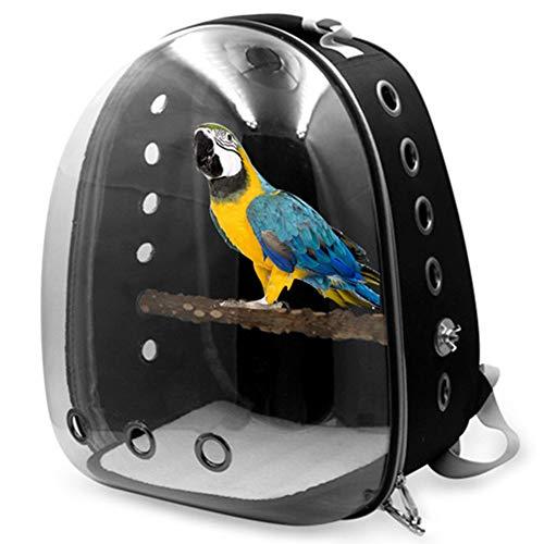 PLAFUETO Bird Carrier with Wooden Stand Pet Bird Travel Backpack Carrier Parrot Supplies Ventilated Design, 12.2 x 11 x 16.1