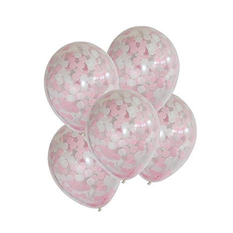 Amazon.com: Globos de confeti rosa de 11.8 in para ...