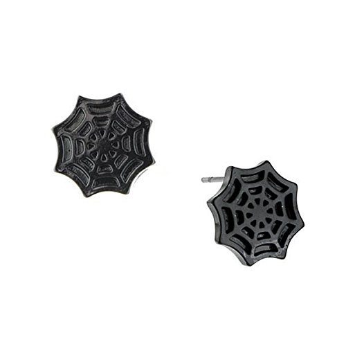 Comic Costumes Man New Spider (Marvel Comics Jewelry Spiderman Spider Web Gunmetal Earrings 4081)