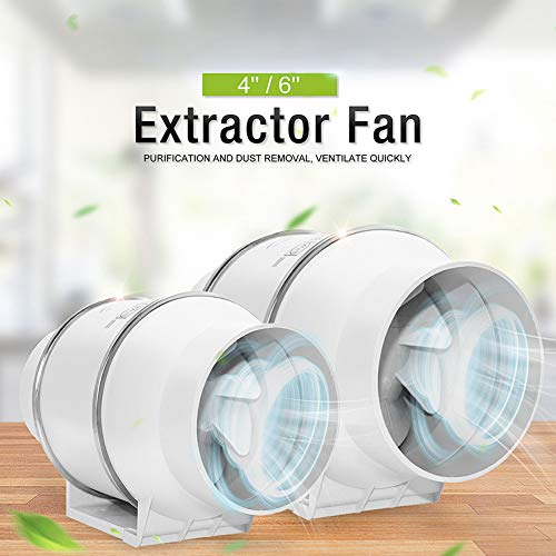 dezirZJjx Extractor Fan with Screw Set, Ducting Booster Fan, 4inch 6inch Silent Oblique Flow in-Line Extractor Ventilation Fan for Kitchen 4 US Plug