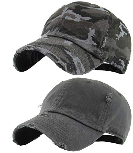 H-218-2-D708406 Distressed Baseball Cap Bundle: Charcoal & Black Camo