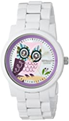 Sprout Women's ST/5034MPWT Diamond and Owl Dial White Corn Resin Bracelet Watch