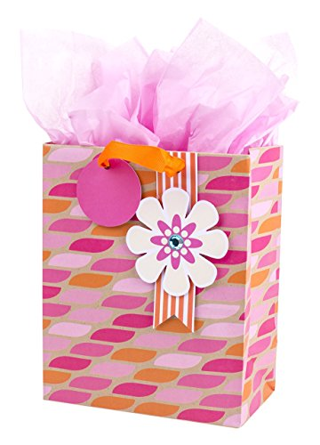Hallmark Medium Gift Bag with Tissue Paper (Pink & Orange (Floral Medium Gift Bag)