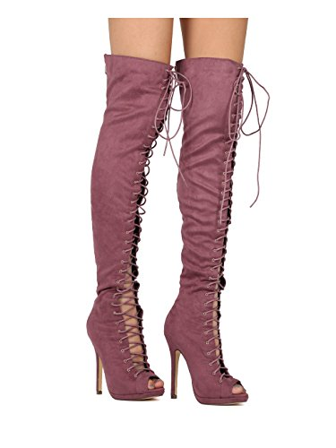 d83ad5185308 Jual Liliana Faux Suede Thigh High Peep Toe Lace Up Stiletto Boot ...