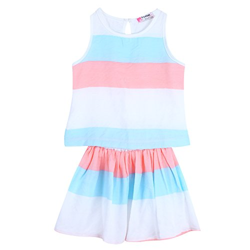 Chinatera 2Pcs Baby Girls Short Outfits Striped Beach Set:Tank Shirt+ Mini Skort (6-7Y) (Size Outfit 6x Girls)