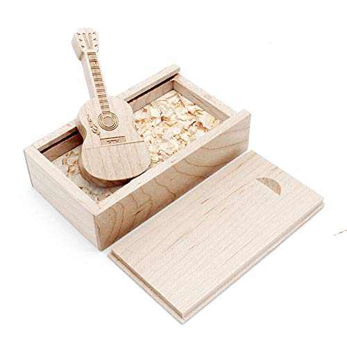 Ace one Wooden Maple Guitar Shape USB Flash Drive USB Memory Stick Thumb Drivers 16g 2.0 High Speed with Matching Box for Novelty Gift (16GB, Maple Guitar) (Pen Driver 16g)