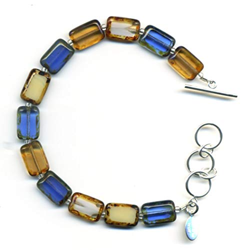 - Beaded Bracelet in Montana Mix, Colorful Glass Tiles, Sterling Silver Adjustable Length Toggle Clasp, One Size Fits Most