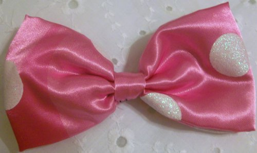 Disney Minnie Mouse, Pink Dotted Head Bow, Pony Tail Holder Halloween Costume Accessory