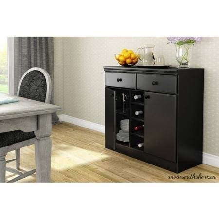 South Shore Morgan Storage Console/Buffet,Black | Metal drawer slides for smooth gliding by South Shore