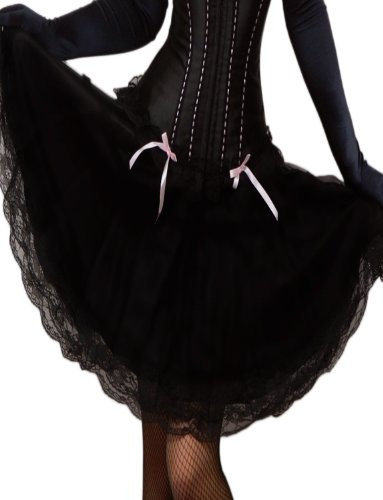 Yummy Bee Womens 50s Style Swing Layered Long Lace Black Skirt Size 16 (Moulin Rouge Clothes)