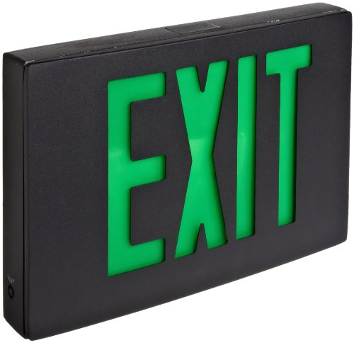 Morris Products 73364 Cast Aluminum LED Exit Sign, Green Letter Color, Black Face Color, Black Housing Finish Cast Aluminum Sign Letters
