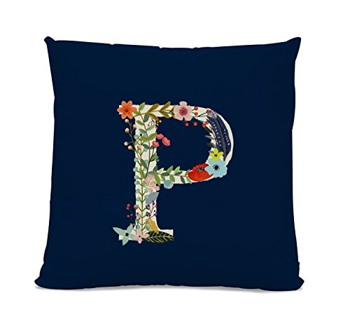 Initial Pillow - Floral Letter Pillow - Pillow with Letter P - Monogrammed Pillow - Custom Throw Pillow Flower Monogram Pillow