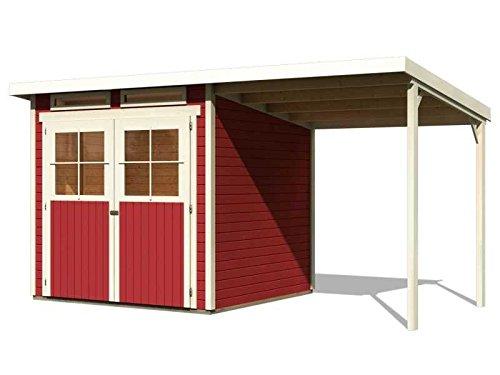 Karibu Gartenhaus Verona 3 inkl. Schleppdach kastanienrot SPARSET mit Fußboden selbstklebender Dachbahn