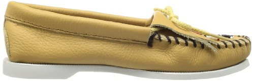Smooth Sole Leather Beige Boat para de Thunderbird 650 mujer cuero Minnetonka Mocasines IxqE5OI