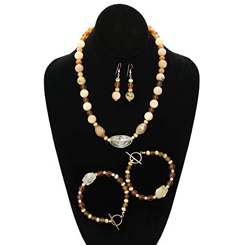 Art Jewelry Set. Handmade Citrine, Opal and Cats Eye Natural Gemstone Necklace, 2 Bracelets and Long Dangle Earrings. One of a Kind