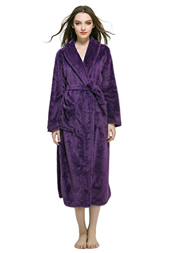 FashionOutlets Unisex Shawl Collar Long Bathrobe Plush Fleece Soft Warm Chenille Robe, Purple M