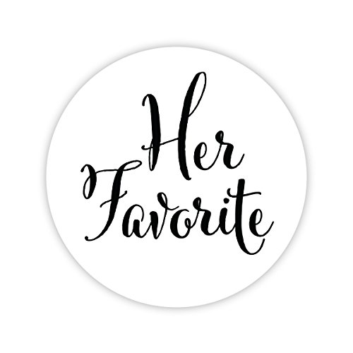 Her Favorite Wedding Stickers, Choose Your Colors, Wedding Favor Stickers (Black on Matte - Her Favorite) (403-BK) by Orange Umbrella Co