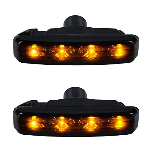 Amber 4-LED Crystal Smoke Lights Black Finish Turn Signals Side Marker Compatible with 1997-2003 BMW E39 5 Series 525i 528i 530i 540i M5