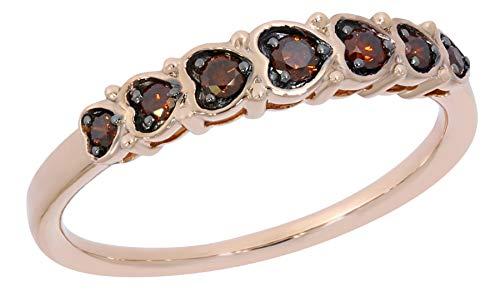 - Prism Jewel 0.25 Carat Cognac Diamond Designer Anniversary Ring, Rose Gold Plated Silver, Size 6