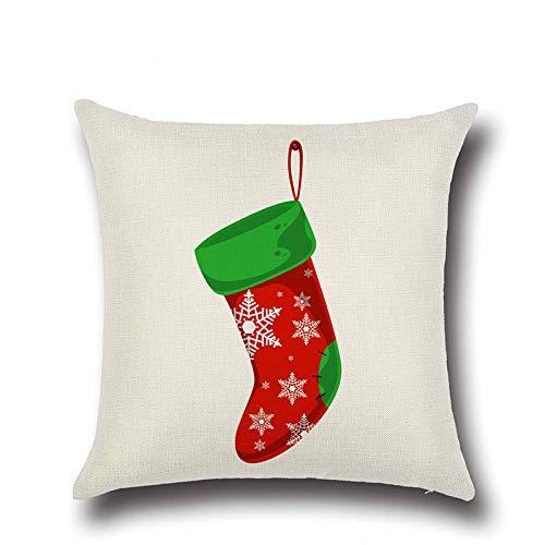 istmas Socks Linen Pillowcase Merry Christmas Decorations for Home Happy Year Decor Navidad 15 45x45cm ()