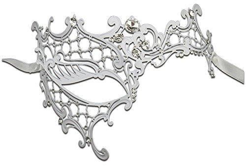Luxury Mask Women's Signature Phantom Of The Opera Masquerade Mask, White/Clear Stones, One Size -