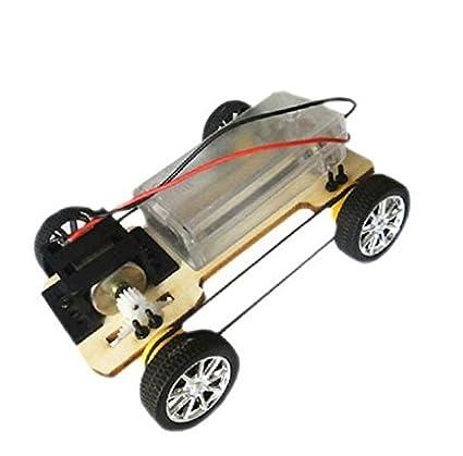 Amazoncom Diy Wooden Four Wheel Drive Electric Car Creative