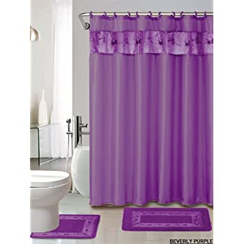 4 Piece Luxury Embroidered Bath Rug Set/ 3 Piece Purple Bathroom Rugs With  Fabric Shower Curtain And Matching Rings
