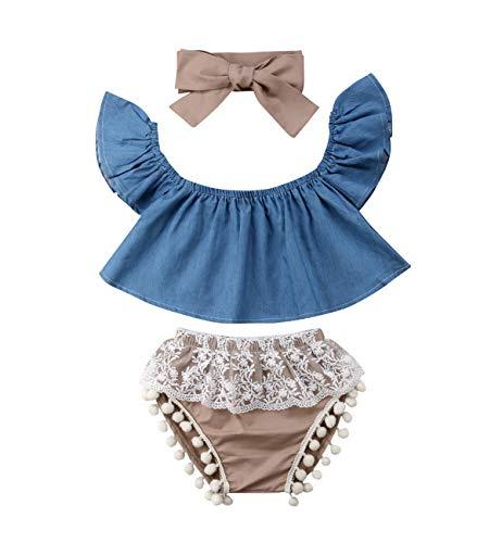 (3PCS Baby Girl Summer Clothes Set Toddler Denim Off Shoulder Crop Tops+Lace Bloomer Shorts+Headband (Blue, 6-12)