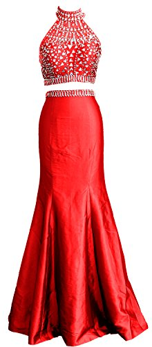 Women Gown Dress Piece Taffeta Prom Mermaid Red High Macloth Long Neck Formal Two RPCfzx