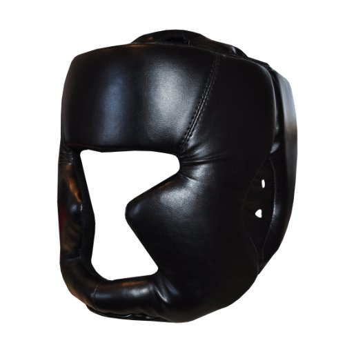 Black Adult Boxing Head Guard Full Face Helmet -MMA, Martial Arts, Thai