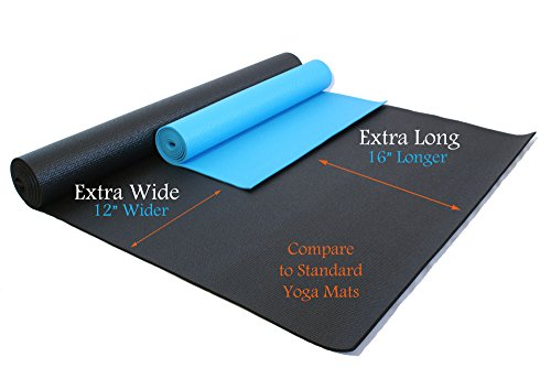 84″ X 36″ X 1/4″ Extra Wide, Extra Long, Extra Thick Black Yoga Pilates Mat