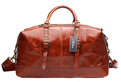 Iblue Travel Duffel Bag Genuine Leather Weekend Garment Tote Handbag Gym Bag 21 Inch #C001 (XL, brown) (Garment Genuine Bag)